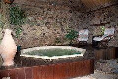 Hot tub set in the barn
