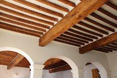 The Salon ceiling is 400 years old ... 7 huge & 160 smaller beams of 'Merisier' (wild cherrywood).