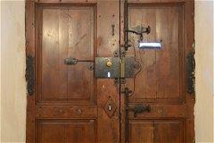 Back of the door - double opening, ventilation windows, 'box lock' & 'Espagnolette' door bolts.