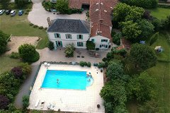 Arial view of the property, pool and gardens