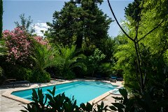 Heated pool with plunge pool