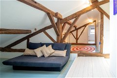 Farmhouse dressing/games area with sofa bed