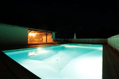 Pool at Night and Pool House