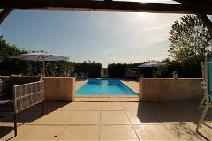 Pigeonnier Terrace, View to SW over pool