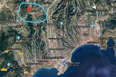 Satellite view Saint Jeannet, the Riviera and Nice airport (aeroport)