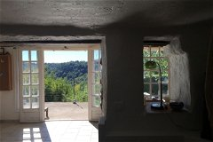 View from inside stone den