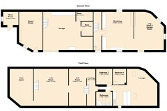 Floor plan, outbuildings including gite