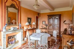 The Graceful Dining Room with Marble Fireplace