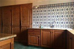 18th C cupboards have been integrated with the Kitchen