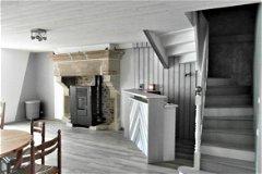 wood burner, stairs