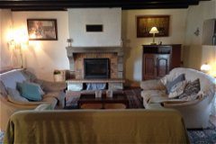 Lounge with large log burner