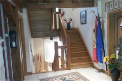 all inside doors, stair-well,beams made out of oak-wood massive