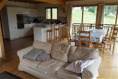 Open plan to kitchen. Oak dining table sits 10 or extends to 14