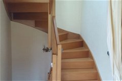 Oak stairs up and down, removable wooden stairgates, lined curtain for heat retention
