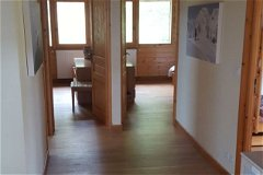 Top floor hall, bunk room to right, double rooms straight ahead, bathroom to left