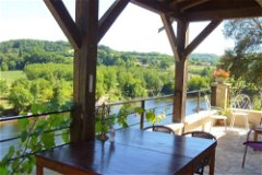The dining terrace at No1 with the river Dordogne below.
