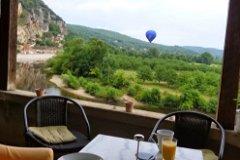 Breakfast on Le Mirador's covered terrace.