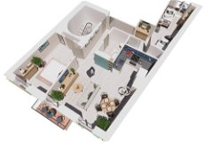 CGI Axonometric View of furnished apartment