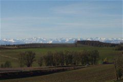 View of Pyrenees from Vegetable Garden